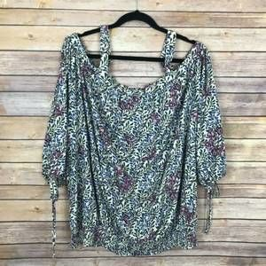 Lucky Brand 3X Floral Off The Shoulder Top XB